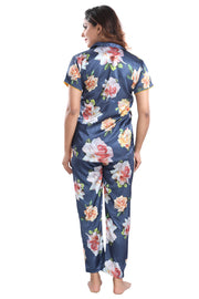 Blue Floral Print Satin Night Suit - 1142