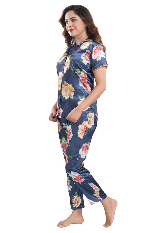 Blue Floral Print Satin Night Suit - 1142 - The Loungewear