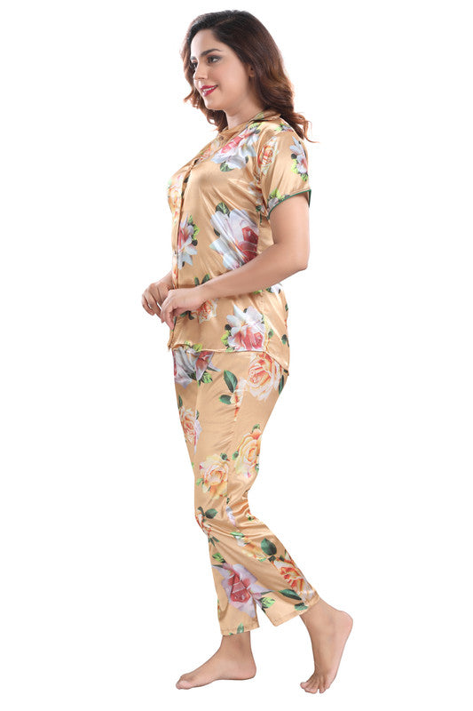 Golden Floral Print Satin Night Suit - 1143 - The Loungewear