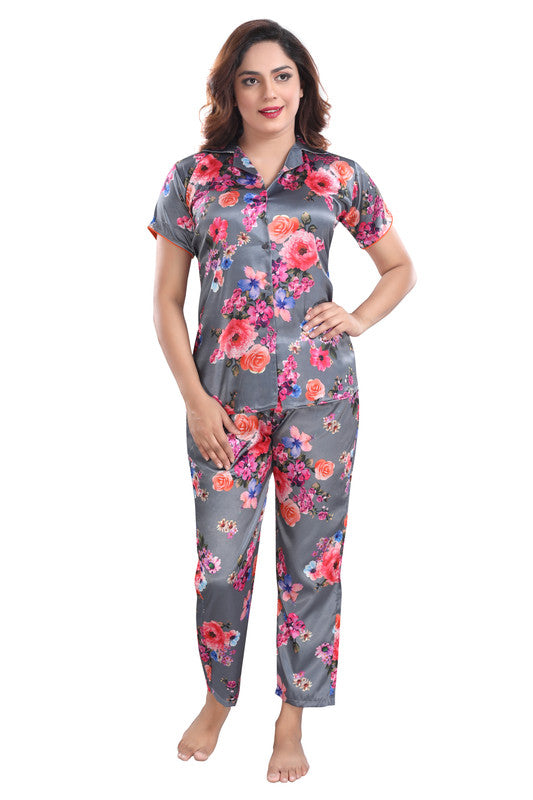Dark Grey Floral Print Satin Night Suit - 1144