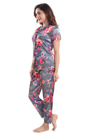Dark Grey Floral Print Satin Night Suit - 1144 - The Loungewear