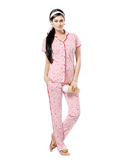 Light Pink Printed Knitted Cotton Night Suit-2276 - The Loungewear