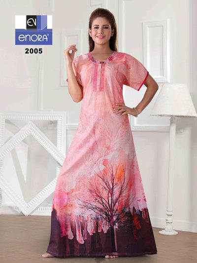 Women Pink Coloured Digital Print Cotton Nighty-2005 - The Loungewear