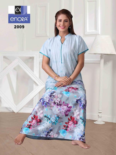 Light Blue Floral Print Cotton Nighty-2009 - The Loungewear