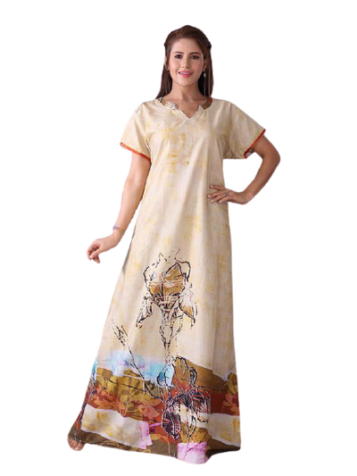 Light Coloured Digital Print Cotton Nighty-2010 - The Loungewear