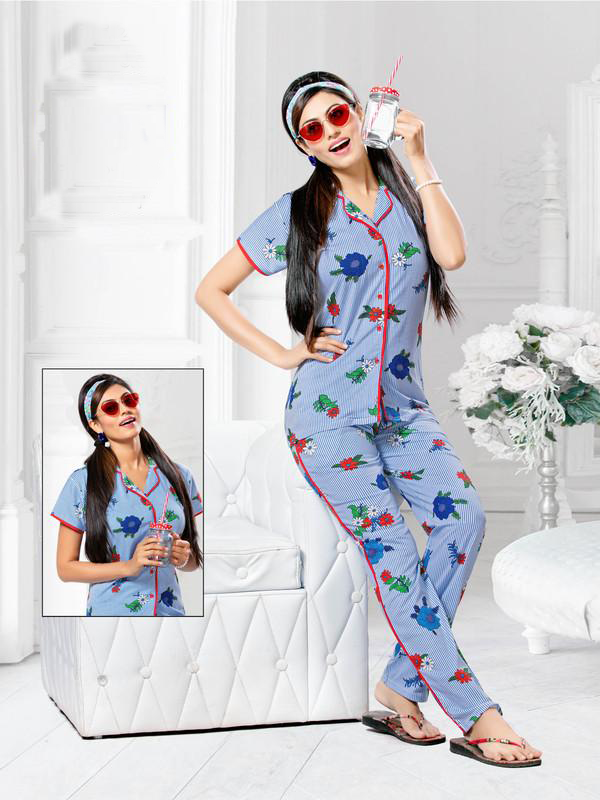 Blue Floral Print Knitted Cotton Night Suit-2275 - The Loungewear