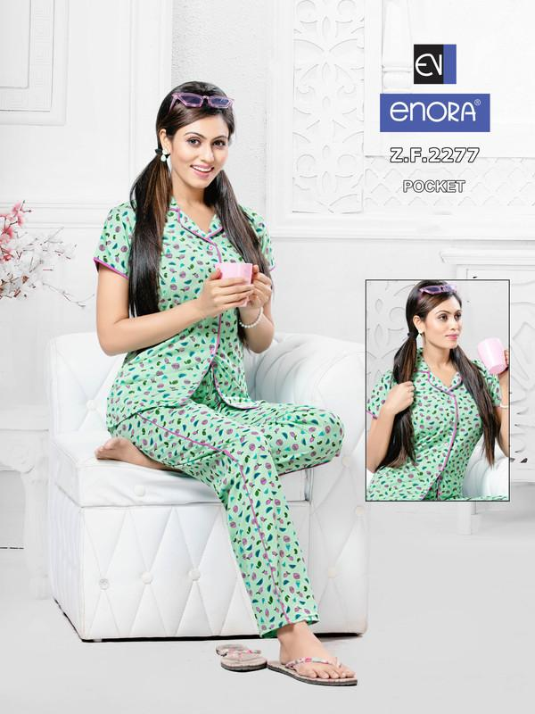 Light Green Printed Knitted Cotton Night Suit- 2277 - The Loungewear