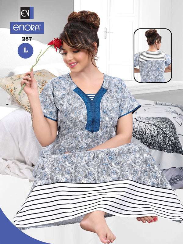 Light Blue Printed Cotton Nighty-257 - The Loungewear