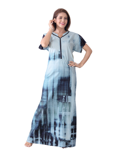 Women Light Blue Digital Print Cotton Nighty-2002