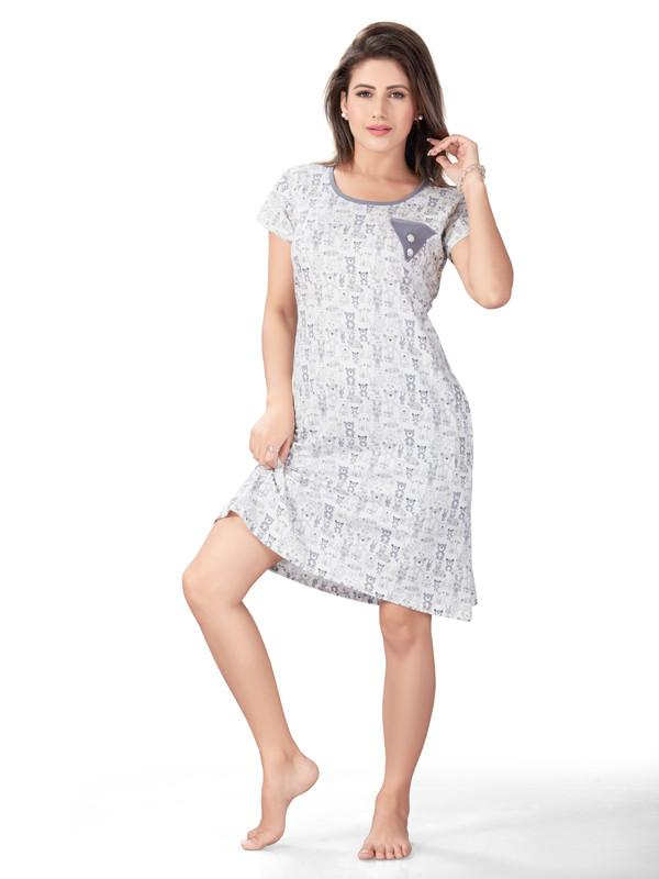 White & Grey Printed Hosiery Cotton Short Nighty-1051 - The Loungewear