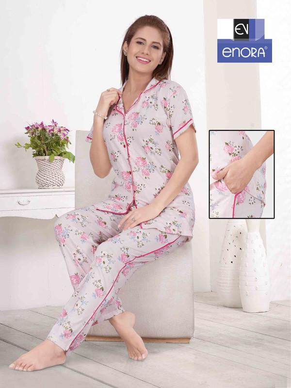Light Coloured Floral Print Knitted Cotton Night Suit-1057 - The Loungewear
