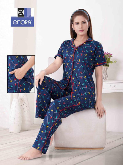 Dark Blue Leaf Motif Knitted Cotton Night Suit-1059 - The Loungewear