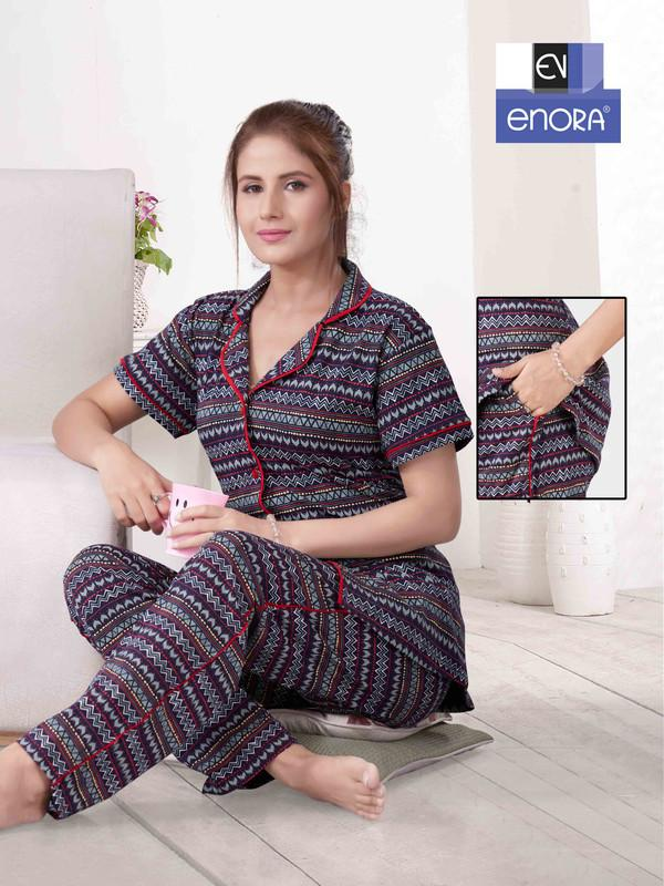 Multi Coloured Asymmetrical Print Knitted Cotton Night Suit-1061 - The Loungewear