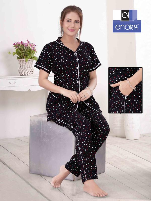 Black & White Polka Dot Knitted Cotton Night Suit-1062 - The Loungewear