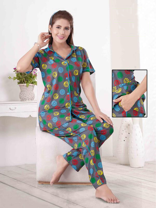 Multi Coloured Printed Knitted Cotton Night Suit-1058 - The Loungewear
