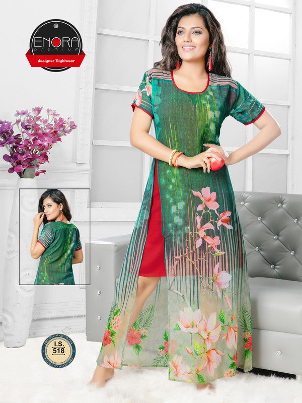 Green & Red Printed Georgette Satin Nighty-518 - The Loungewear