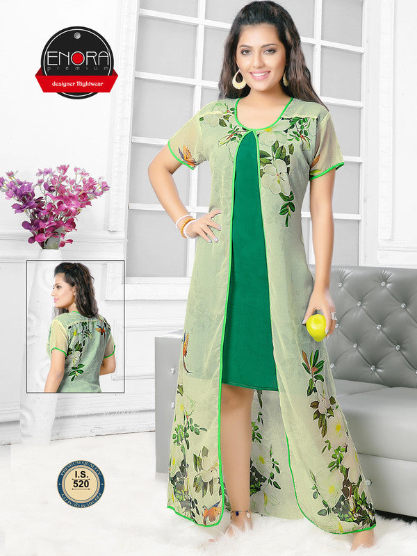 Green Printed Georgette Satin Nighty-520 - The Loungewear