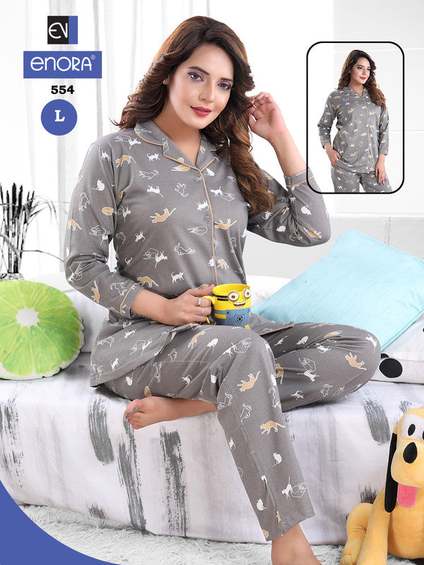 Grey Animal Printed Knitted Cotton Night Suit - 554-57 - The Loungewear
