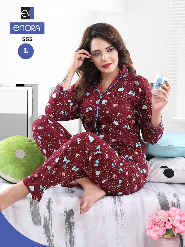 Maroon Printed Knitted Cotton Night Suit - 555-57 - The Loungewear