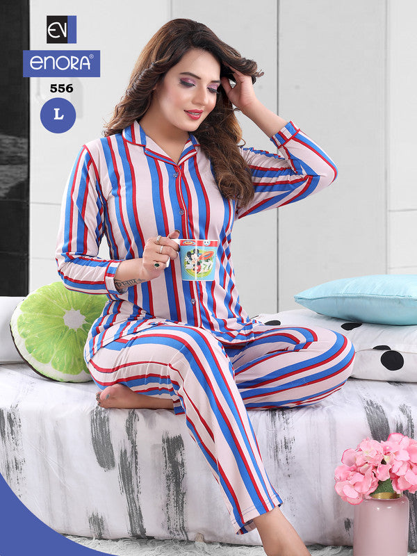 Multi-Colored Striped Knitted Cotton Night Suit - 556-57 - The Loungewear