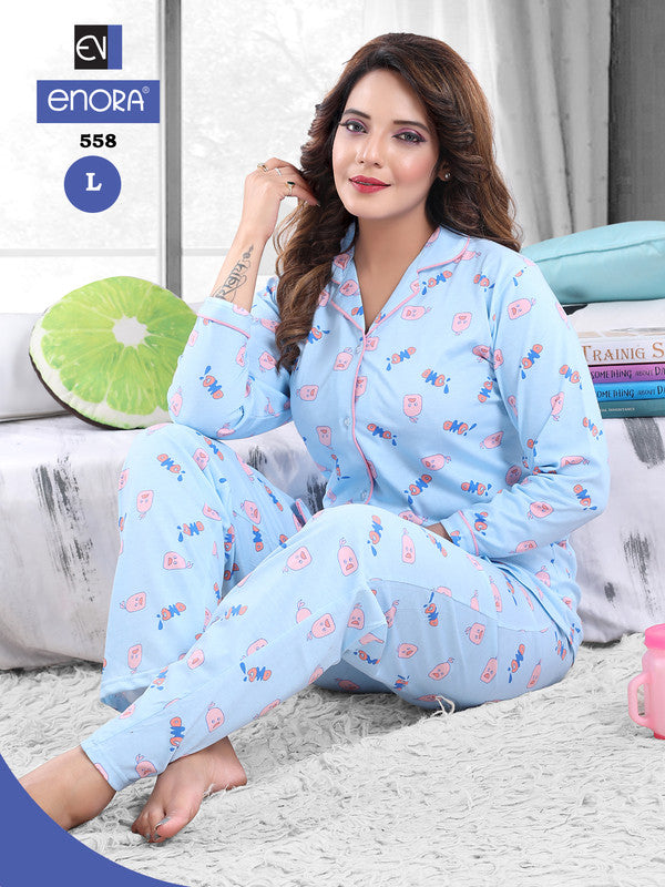 Light Blue Printed Knitted Cotton Night Suit - 558-57 - The Loungewear
