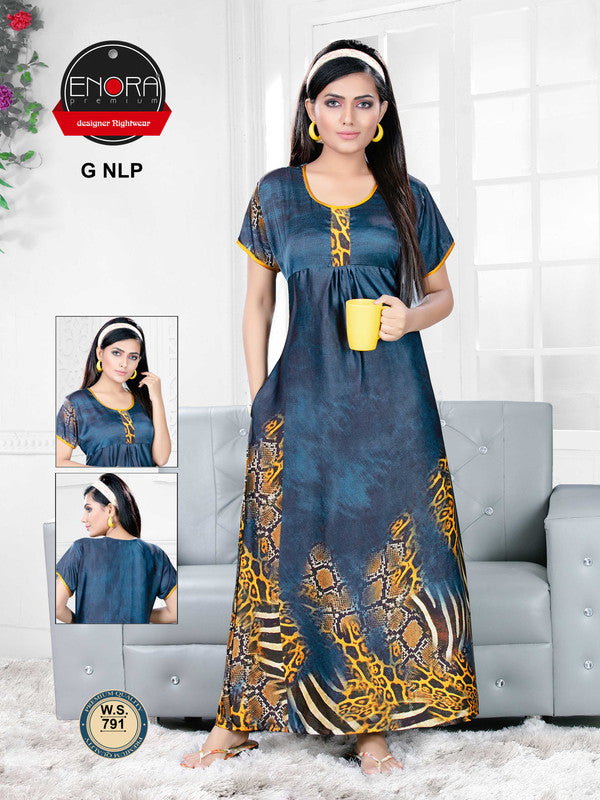 Navy Blue Digital Print Satin Nighty - 791 - The Loungewear