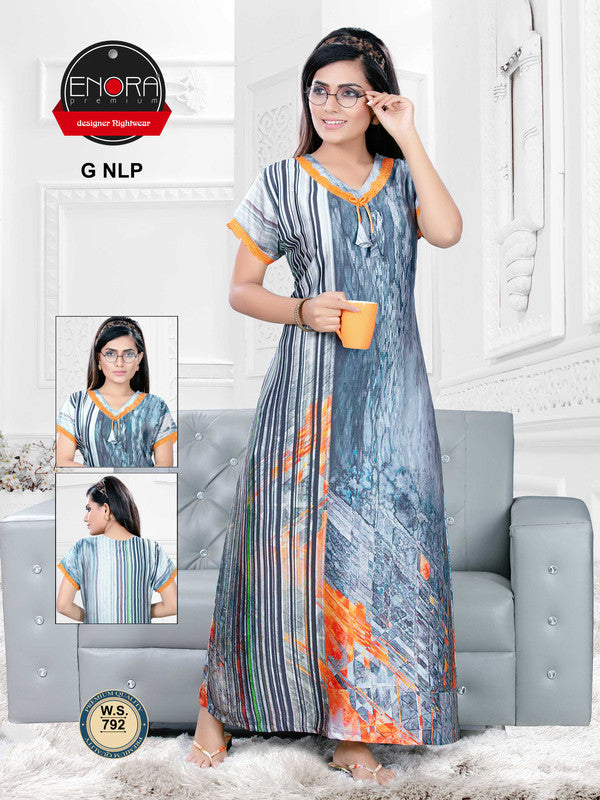 Grey Digital Print Satin Nighty - 792 - The Loungewear