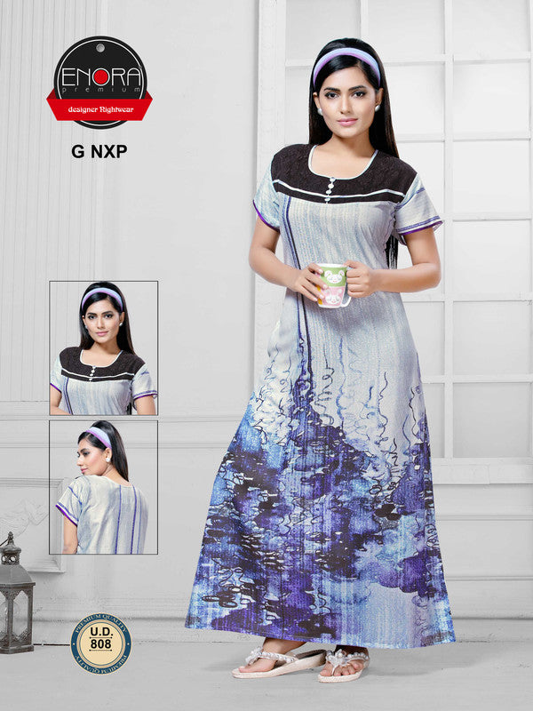 Blue Digital Print Alpine Nighty - 808 - The Loungewear