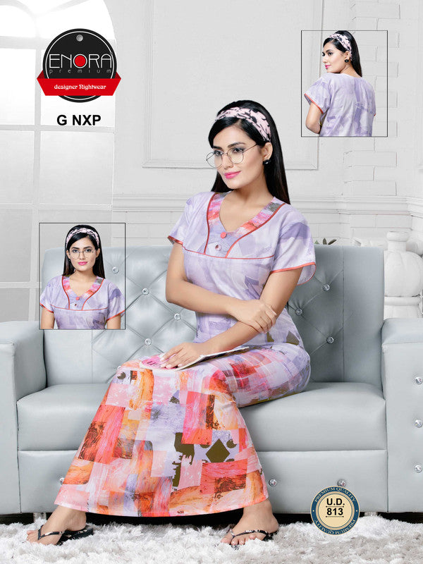 Multi-Coloured Digital Print Alpine Nighty - 813 - The Loungewear