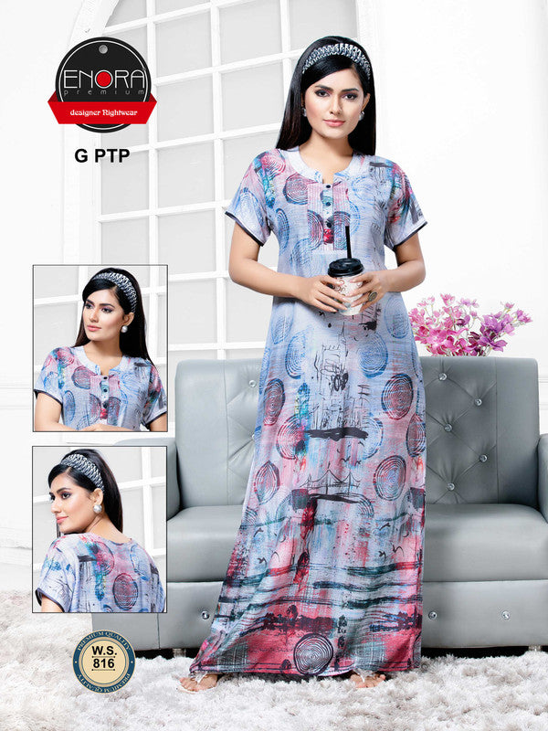 Multi-Coloured Digital Print Modal Nighty - 816 - The Loungewear