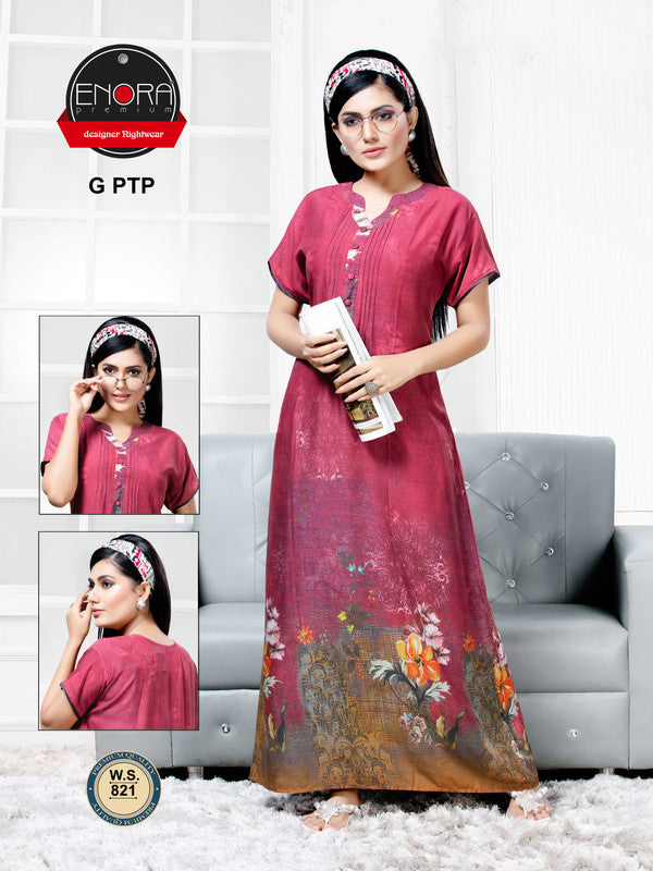 Maroon Digital Print Modal Nighty - 821 - The Loungewear
