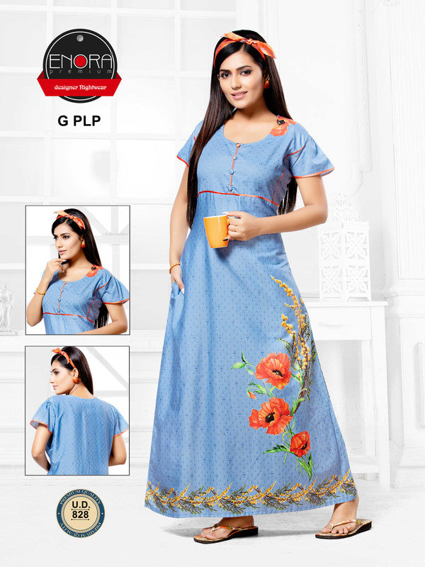 Light Blue Digital Print Cotton Nighty - 828 - The Loungewear