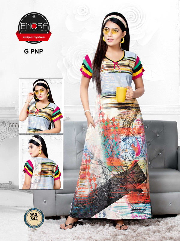 Multi-Coloured Digital Print Cotton Nighty - 844 - The Loungewear