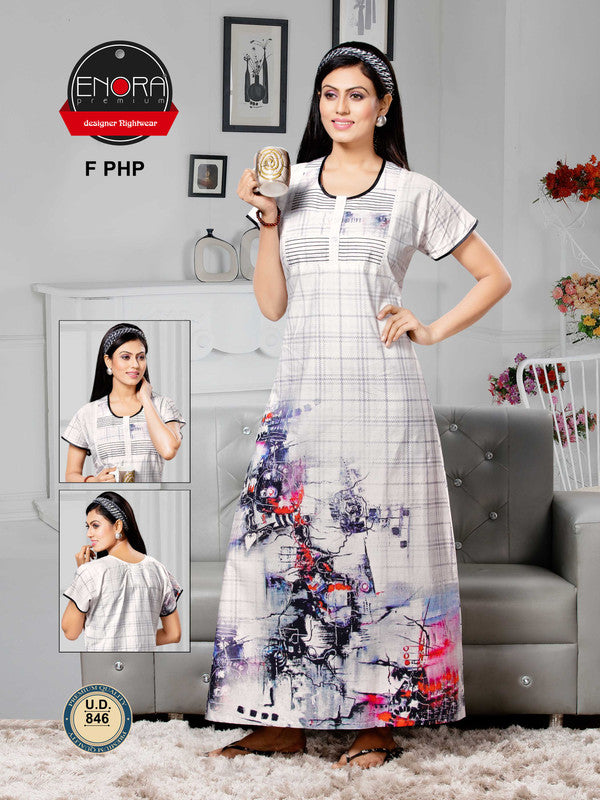Light Coloured Digital Print Alpine Nighty - 846 - The Loungewear