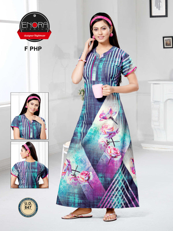 Multi-Coloured Digital Print Camaric Cotton Nighty - 847 - The Loungewear