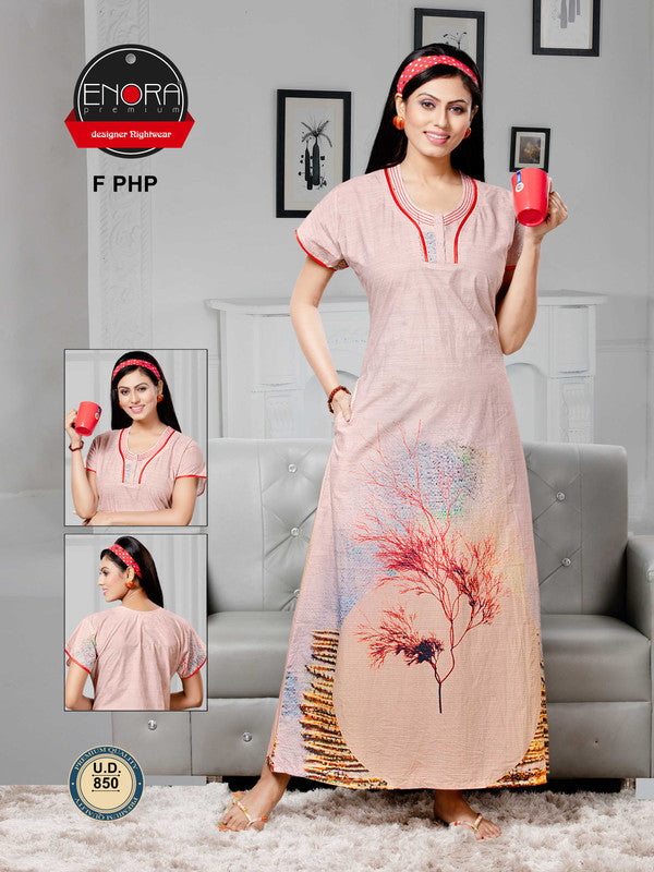 Peach Digital Print Camaric Cotton Nighty - 850 - The Loungewear