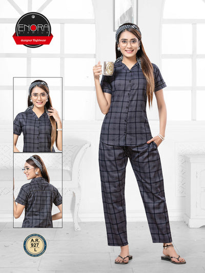 Black Checkered Pattern Cotton Night Suit-927 - The Loungewear