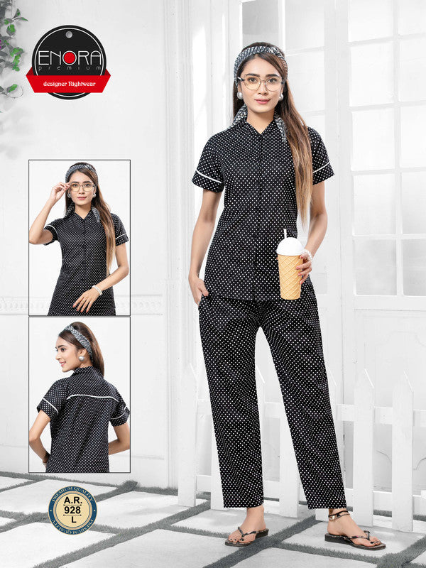 Black Polka Dot Cotton Night Suit-928 - The Loungewear