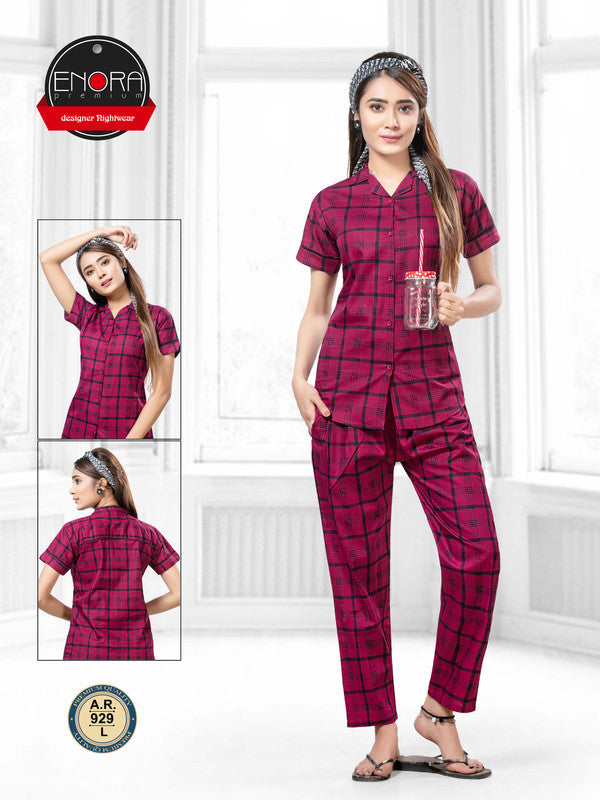 Maroon Checkered Pattern Cotton Night Suit-929 - The Loungewear