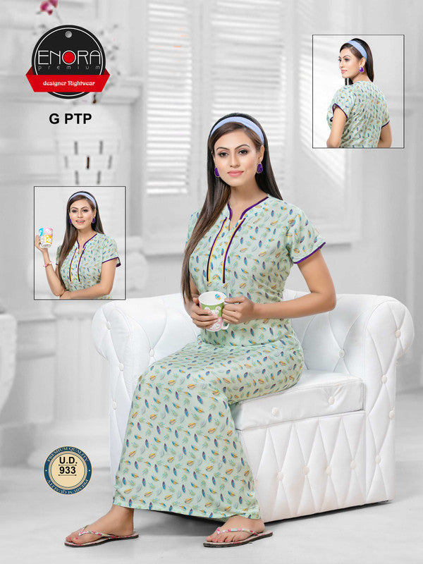 Light Coloured Digital Print Modal Nighty - 933 - The Loungewear