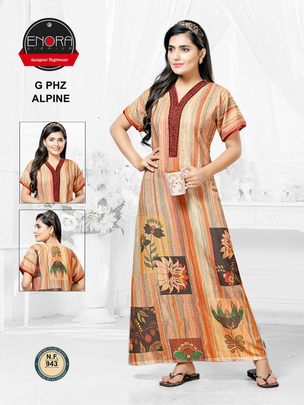 Multicoloured Digital Print Alpine Nighty-943 - The Loungewear