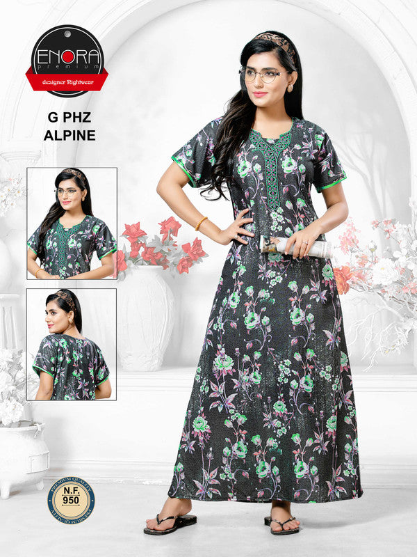 Dark Coloured Digital Print Camaric Cotton Nighty - 950 - The Loungewear
