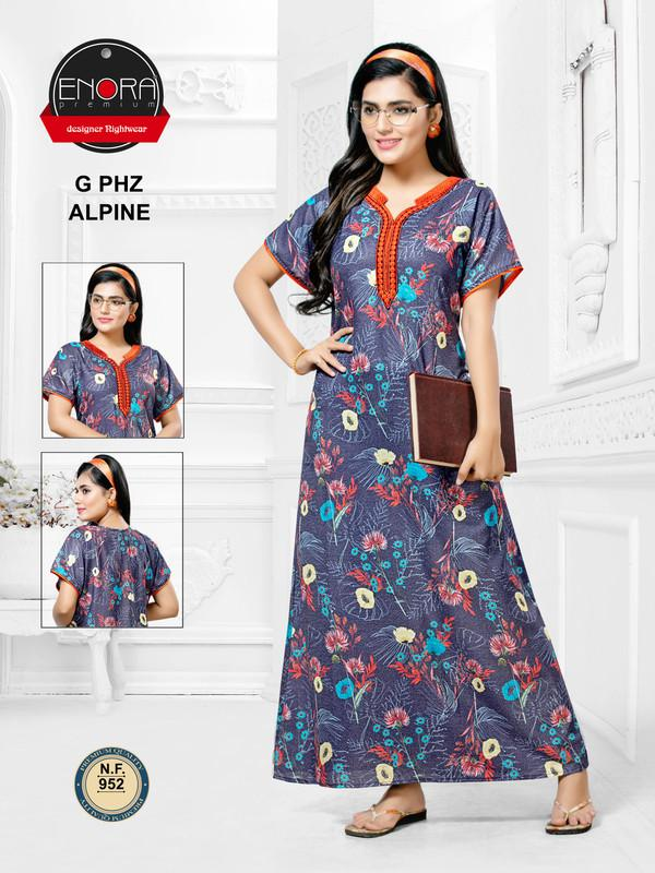 Blue Floral Print Alpine Nighty-952 - The Loungewear