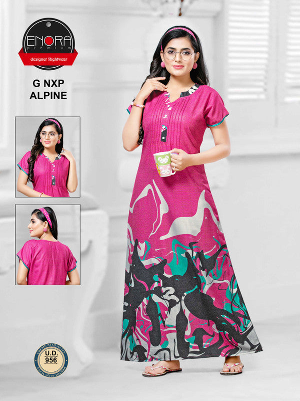 Dark Pink Digital Print Alpine Nighty - 956 - The Loungewear