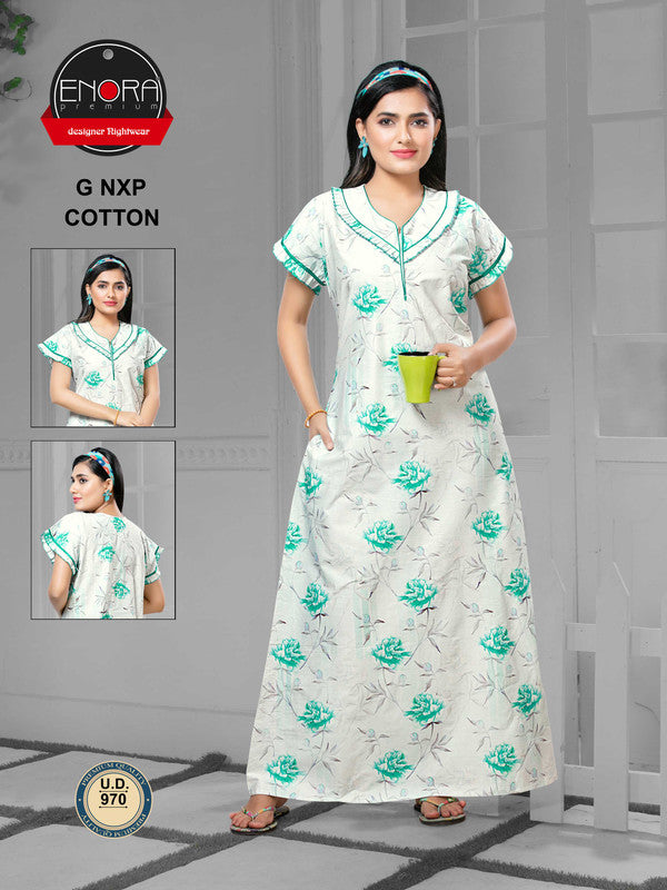 Light Coloured Digital Print Cotton Nighty - 970 - The Loungewear