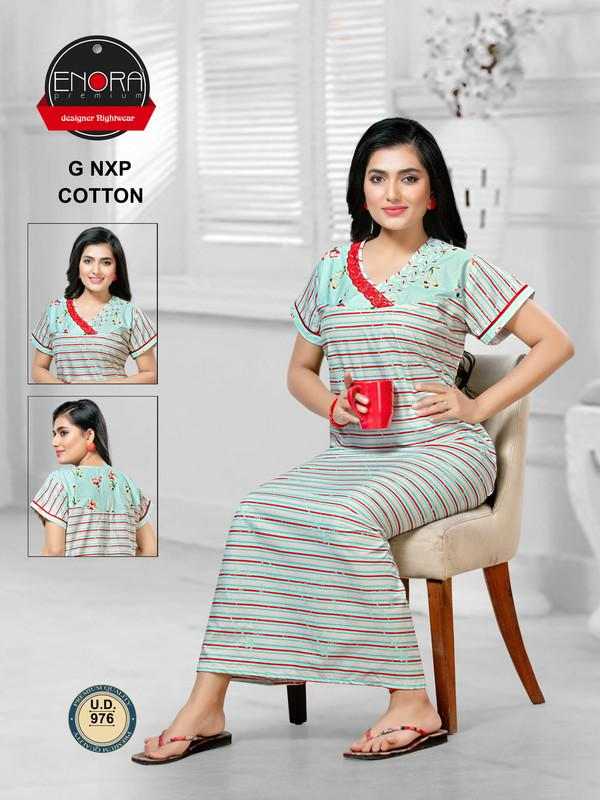 Pista Coloured Striped Cotton Nighty-976 - The Loungewear