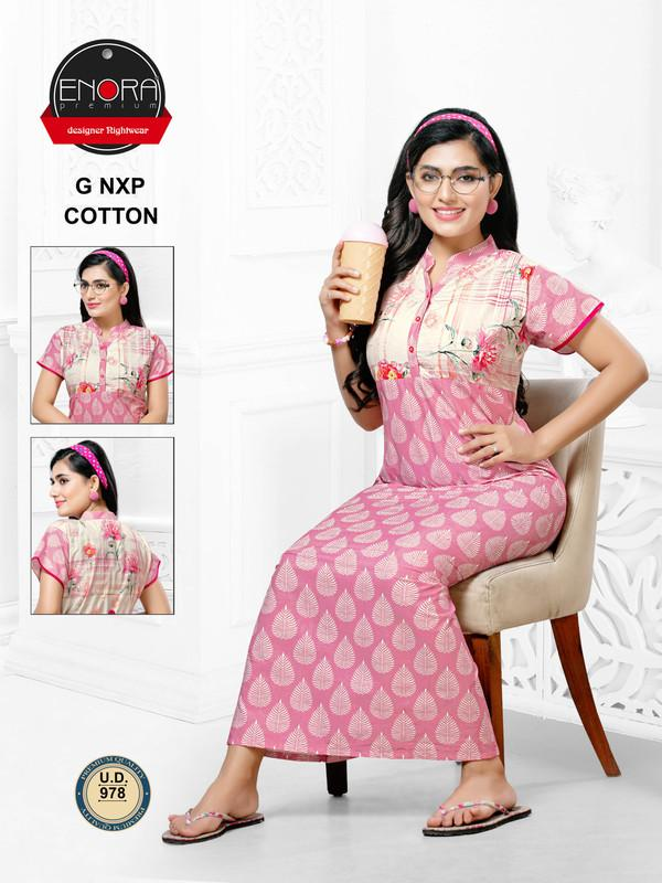 Pink Coloured Digital Print Cotton Nighty-978 - The Loungewear