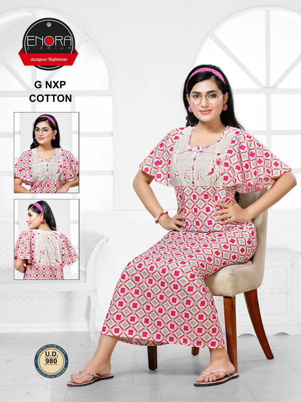 Multi Coloured Digital Print Cotton Nighty-980 - The Loungewear