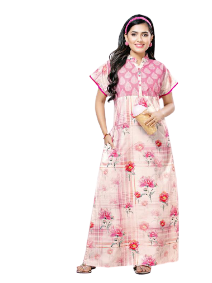 Light Pink Digital Print Cotton Nighty-1037 - The Loungewear