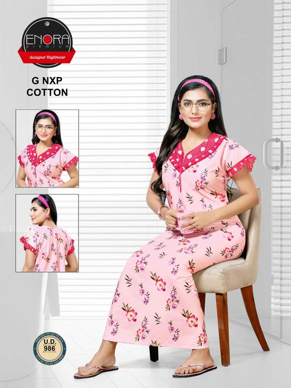Pink Coloured Digital Print Cotton Nighty-1038 - The Loungewear